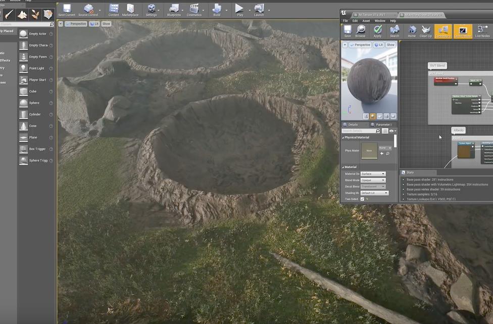 Unreal Engine 4 使用、Megascans のアセットをブレンドして地形を作る