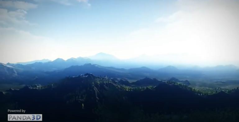 Panda3D地形と森のデモ、ダイナミックライティング