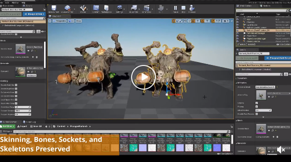 UnrealEngine用の骨格および静的メッシュベーキングプラグイン